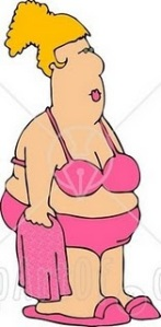 4163-Fat-Woman-Wearing-A-Pink-Bathing-Suit-And-Holding-A-Pink-Towel-Clipart
